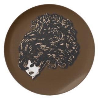Hair Girl (Brown Design) Dinner Plate
