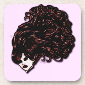 Hair Girl (Pink and Red) Coaster