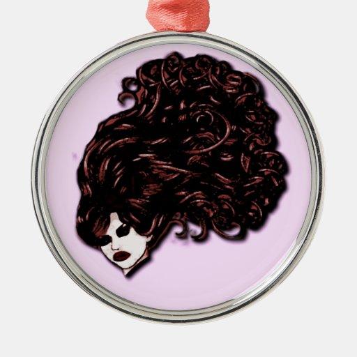 Hair Girl (Pink and Red) Metal Ornament