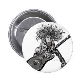 Hair Guitar Pinback Button