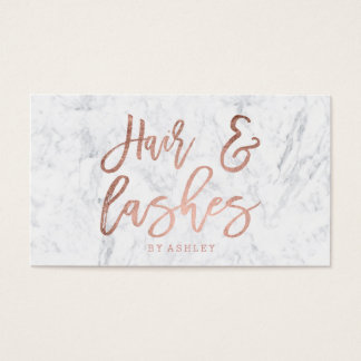 Hair lashes script rose gold typography marble business card
