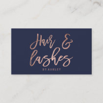 Hair lashes script rose gold typography navy blue business card