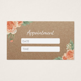 Hair & Makeup Artist Rustic Floral Appointment Business Card