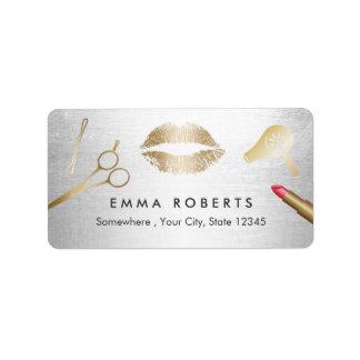 Hair & Makeup Beauty Salon Modern Gold & Silver Label