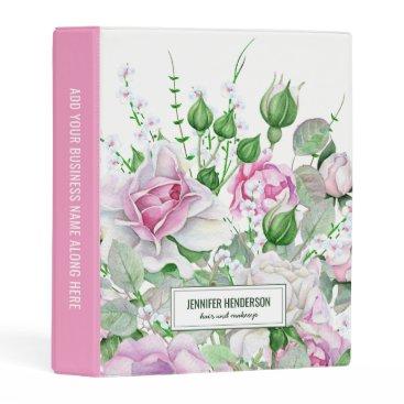 Professional Business Hair & Makeup Beauty Salon Pink Floral Mini Binder