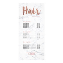 Hair modern gold typography marble price list rack card