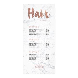 Hair modern gold typography marble price list rack card