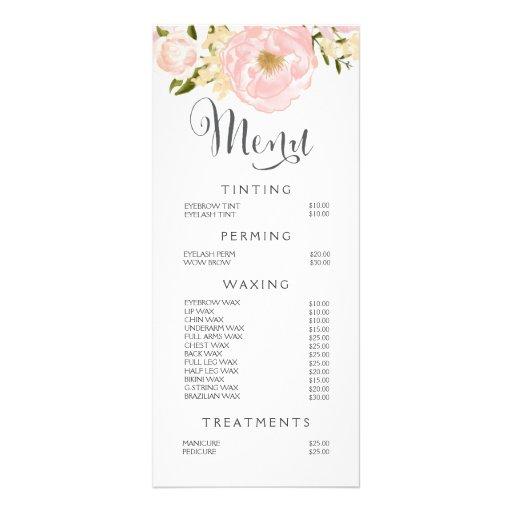 Hair Nail Salon Beautician Menu Floral Price List Custom ...