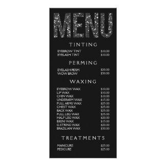 Hair Nail Salon Beautician Menu Price List Custom Rack Card