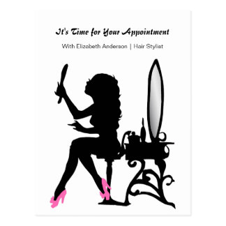 Hair Salon Appointment Reminder Girly Hair Stylist Postcard