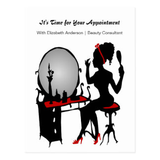 Hair Salon Appointment Reminder Red Shoes Woman Postcards