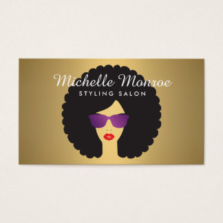 Hair Salon Beauty Girl with Afro on Faux Gold Business Card