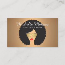 Hair Salon Beauty Girl with Afro on Rose Gold Business Card
