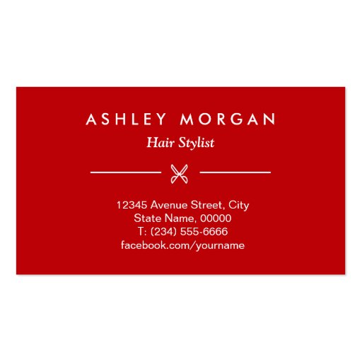 Hair Salon Beauty Lounge Classy Red White Scissors Business Card Templates (back side)