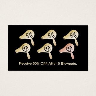 Hair Salon Blow Dry Bar Modern Black Gold Loyalty Business Card