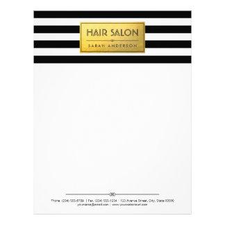HAIR SALON - Classy Gold Label Black White Stripes Letterhead