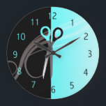 "Hair salon clock<br><div class=""desc"">Teal and black color  wall clock to match your business cards. :) Feel free to contact me if you need anything changed or added to the design. kepplemorgan@shaw.ca</div>"