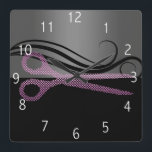 """hair salon clock<br><div class=""""desc"""">Pink and black wall clock to match your business cards. :) Feel free to contact me if you need anything changed or added to the design. kepplemorgan@shaw.ca</div>"""