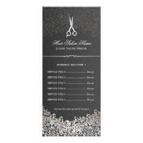 Hair Salon Elegant Dark Silver Damask Price List Rack Card