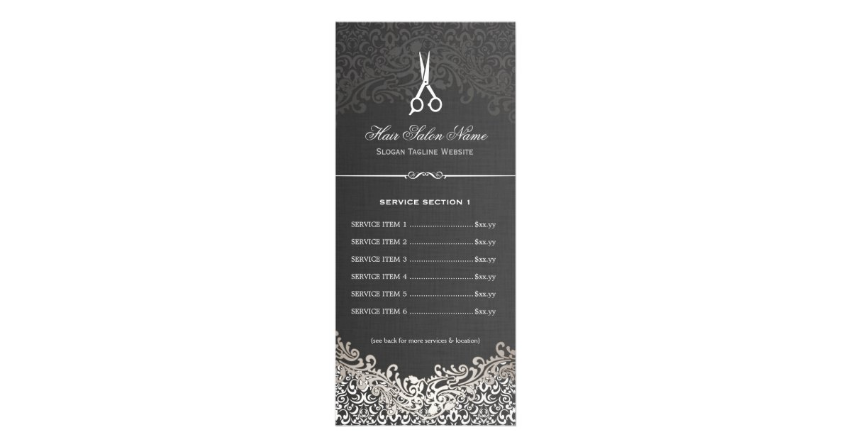 Hair salon elegant dark silver damask price list rack card for F salon jaipur price list