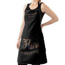 Hair salon employee personalized black and gold apron