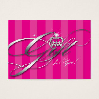 Hair Salon Gift Certificate Pink Stripes Crown