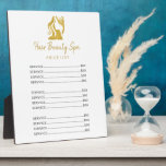 """Hair salon gold white elegant price list plaque<br><div class=""""desc"""">Simple stylish price list for a hairstylist / beauty hair / hair spa salon featuring a faux gold glitter woman head silhouette (you can replace it with your logo!) on a clear white background.</div>"""