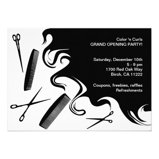 Hair salon grand opening party invitation 5 x 7 for X salon mulund rate card