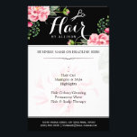 """Hair Salon Hair Cut Black White Floral Flyer<br><div class=""""desc"""">Hair Salon Hair Cut Black White Floral Flyer.  (1) For further customization,  please click the &quot;customize further&quot; link and use our design tool to modify this template.  (2) If you need help or matching items,  please contact me.</div>"""