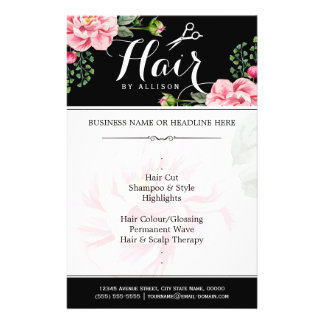 Hair Salon Hair Cut Black White Floral Flyer