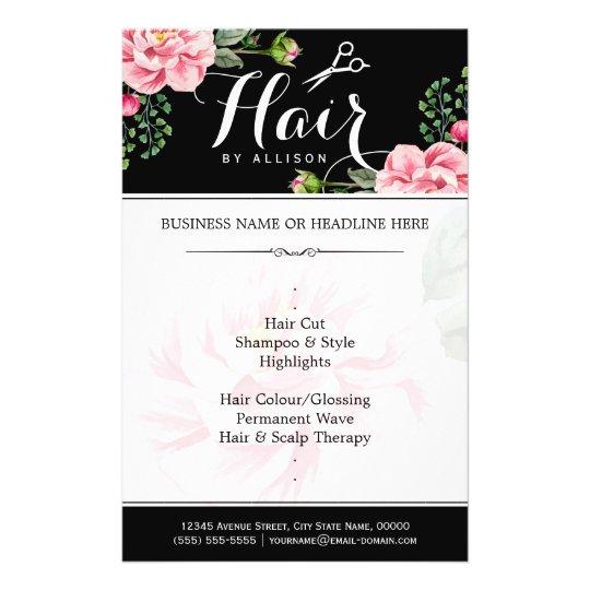Hair Salon Hair Cut Black White Floral Flyer Zazzle Com