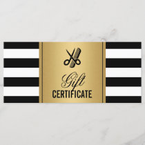 Hair Salon Logo Gift Certificate Gold B&W Stripes