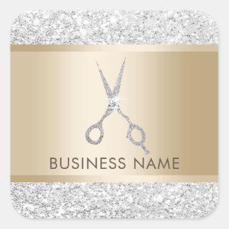Hair Salon Luxury Silver Glitter Hairstylist Square Sticker