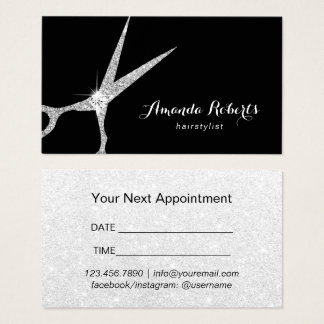 Hair Salon Modern Silver Glitter Appointment Business Card