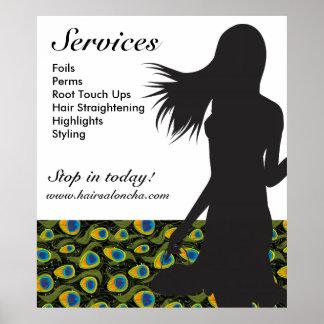 Hair Salon Poster Black Woman Peacock Pattern