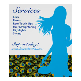 Hair Salon Poster Blue Woman Peacock Pattern