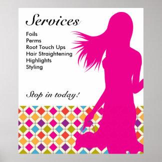 Hair Salon Poster Pink Woman Diamond Tiles