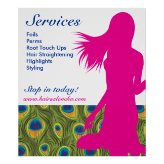 Hair Salon Poster Pink Woman Peacock Pattern