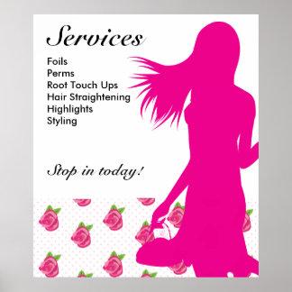 Hair Salon Poster Pink Woman Rose Flower Dots