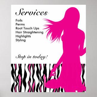 Hair Salon Poster Pink Woman Tiger Stripes