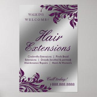 Hair Salon Poster Silver Purple Leaves Sparkle