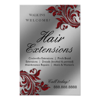 Hair Salon Poster Silver Red Leaves Sparkle