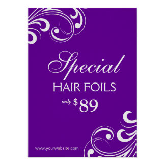 HAIR Salon Poster Spa Purple & White Swirls