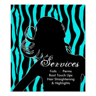 Hair Salon Posters Woman Blue Zebra