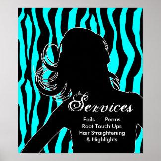 Hair Salon Posters Woman Blue Zebra