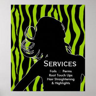 Hair Salon Posters Woman Lime Green Zebra