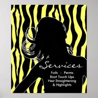 Hair Salon Posters Woman Yellow Zebra