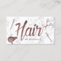 Hair Salon Rose Gold Typography White Marble Business Card