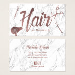"Hair Salon Rose Gold Typography White Marble Business Card<br><div class=""desc"">Hair Salon Rose Gold Typography White Marble Business Cards.</div>"