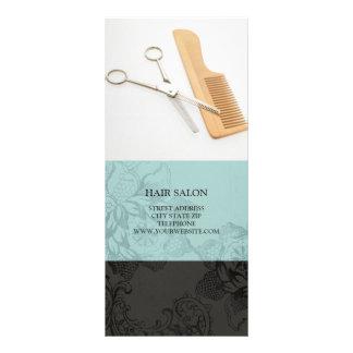 Hair Salon Services Price List {Teal Blue} Rack Card Design